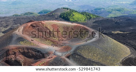 Aerial view of Silvestri crater at the slopes of Mount Etna at the island Sicily, Italy
