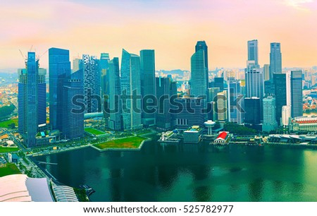 Aerial view of Singapore from Marina Bay viewpoint