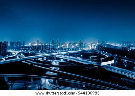 Aerial View of Suzhou overpass at Night in China.
