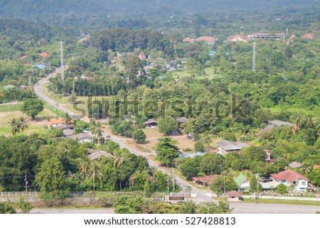 Aerial view of Thai small village