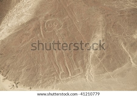 Aerial View of The Astronaut Geoglyph at the Nazca Lines in Peru