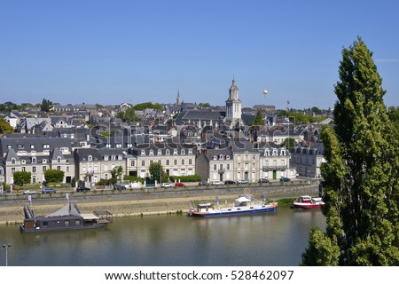 Aerial view of the city Angers with the Maine river and the La Trinite church in the Maine-et-Loire department, Pays de la Loire region, in western France about 300 km (190 mi) south-west of Paris