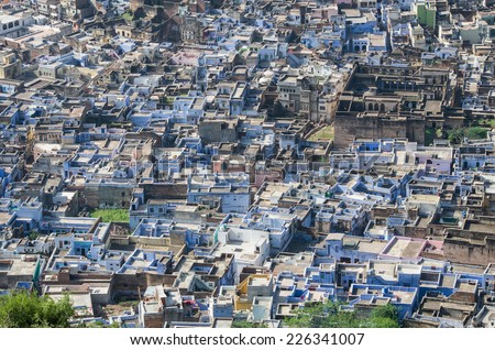 aerial view of the city of Bundi from Bundi's palace, Rajasthan, India