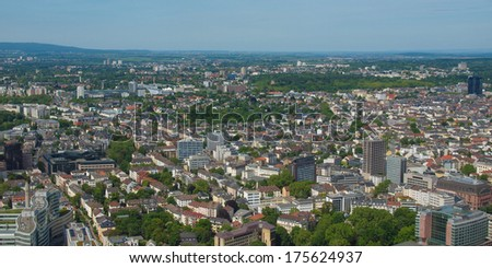 Aerial view of the city of Frankfurt am Main in Germany - wide panoramic view