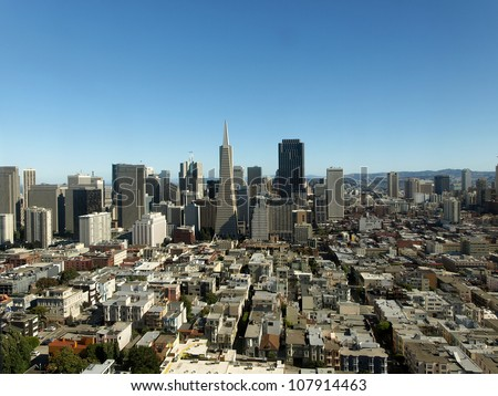 Aerial view of the financial district of San Francisco, California, with the famous skyscrapers : Transamerica pyramid and Bank of America tower.