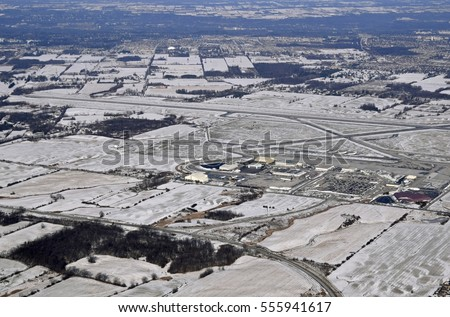 aerial view of the Hamilton International Airport in Mount Hope, Ontario Canada Winter scene