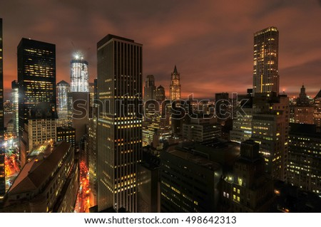 Aerial View of the skyscrapers of downtown Manhattan in New York City.