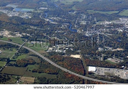 aerial view of the town of Bracebridge in the Muskoka region during Autumn, Ontario Canada