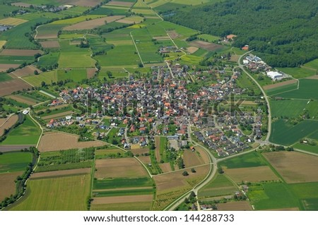 aerial view of the town of Wagshurst in Baden Germany