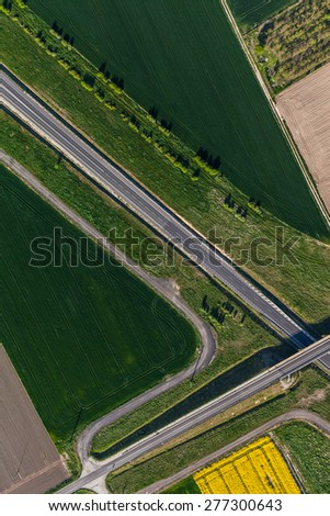 aerial view of  village road in Poland