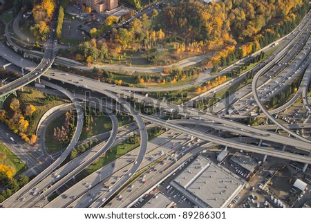 Aerial view of vivid colors at a major, complex interstate junction