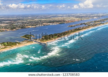 Aerial View on Florida Beach and waterway near Palm Beach
