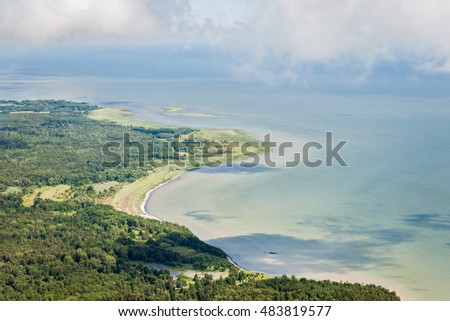 aerial view over the Baltic sea at the Saaremaa islands