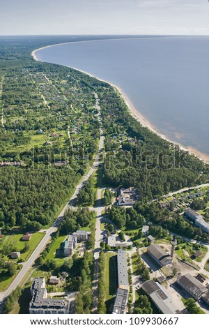 aerial view over the seaside