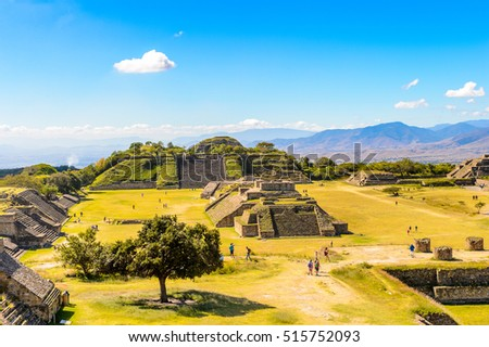 Aerial viewMonte Alban, a large pre-Columbian archaeological site, Santa Cruz Xoxocotlan Municipality, Oaxaca State.  UNESCO World Heritage