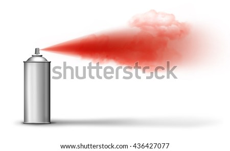 Aerosol can spraying red paint cloud on white backround