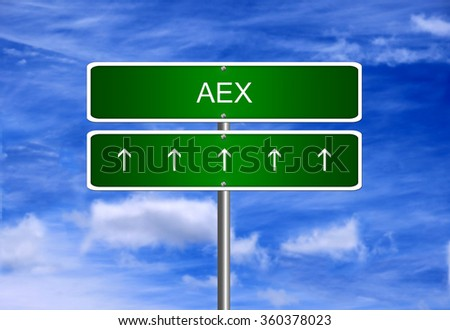 AEX Netherlands index arrow going up stock exchange rising strong bull market concept.