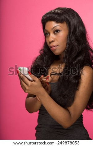 African American Black Woman Texting Cell Phone Smart