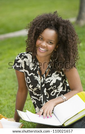 African American female student studying in college campus