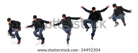 African American hip hop dancer in dance jump progression - EXTRA LARGE SIZE