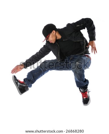 African American hip hop dancer jumping isolated over white