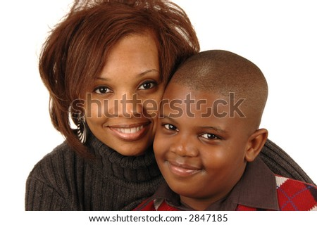 African american mother and son smiling against white background