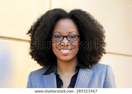 African American One Professional Business Person Black Hair Africa Smiling and Happy Wearing Glasses Woman