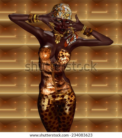 African American Woman Digital Model in Leopard Print Fashion with Beautiful Cosmetics and Head Scarf. Modern Vogue Pose. A gold abstract background with glowing lights enhances this fashion scene.