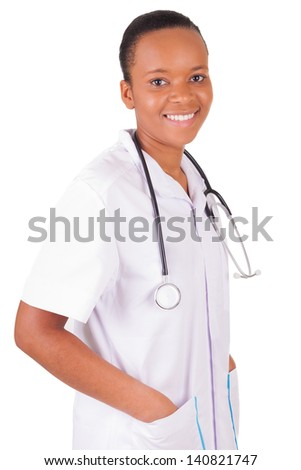 African american woman doctor a over white background, isolated