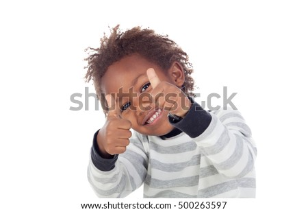 African child saying Ok isolated on white background