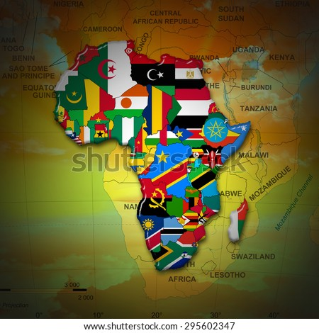 African flags,maps, continent , and african map background