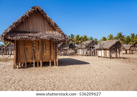 African huts in Ambohitsara, typical Betsimisaraka village of the  Pangalanes channel, east of Madagascar