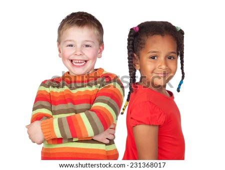 African little girl and caucasian blond kid isolated on a white background