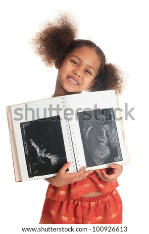 afro american asian black child with book ultrasound isolated metisse long hair