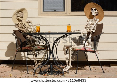 Afternoon Tea Shared Between Friends Skeletons Stock Photo