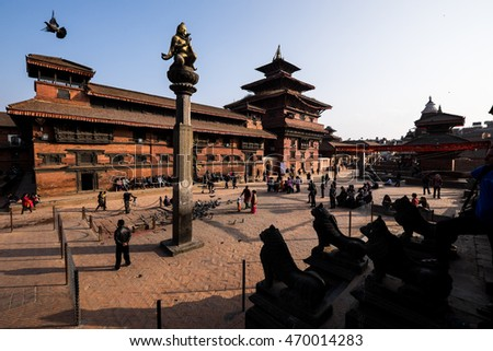 Afternoon view of Durbar square in Kathmandu, capital of Nepal