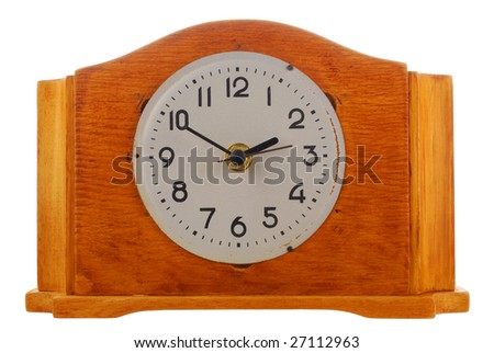 age-old mechanical clock isolated on a white background