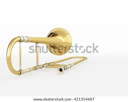 Aged trombone on white background 3D rendering