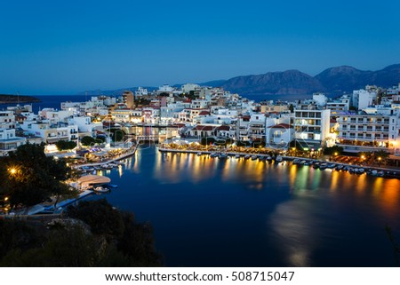 Agios Nikolaos, Greece - October 13 2016: Night lights of the spa town, the view from the highest point in evening
