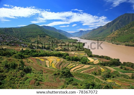 Agricultural Land beside The Yangtze River (Chang Jiang River) in Yunnan Province, China