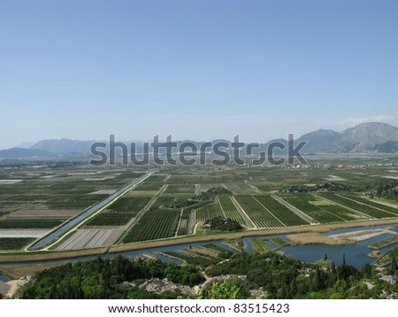 Agriculture in the delta of the Neretva river in Croatia