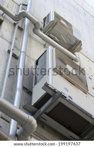 Air Conditioner In The Outer Wall Of The Building