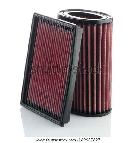 Air filters on white background. Vehicle Modification Accessories.