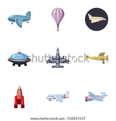 Aircraft icons set. Cartoon illustration of 9 aircraft  icons for web
