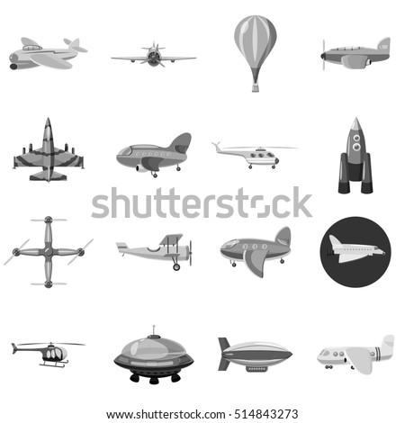 Aircraft icons set. Gray monochrome illustration of 16 aircraft  icons for web