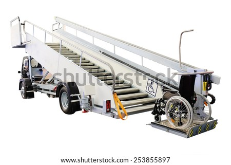 Airfield self-propelled passenger ladder for wheelchairs isolated under the white background