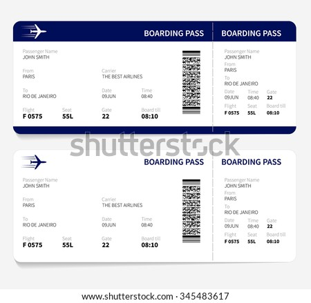 Vector Image Airline Boarding Pass Tickets Stock Vector 174989354