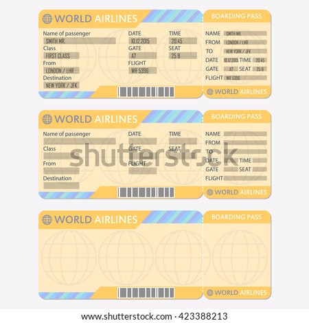 Airline Plane Ticket Template Boarding Pass Vector 377187076 – Plane Ticket Template