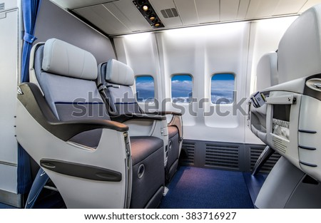 Airplane cabin business class interior