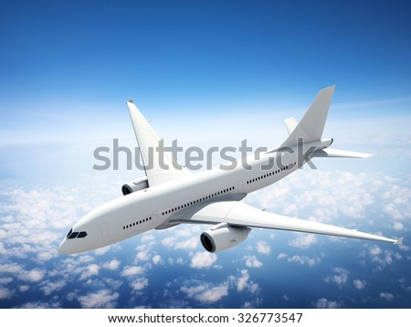 Airplane Skyline Horizon Flight Cloud Concept
